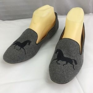 J. Crew Factory Addie Gallop Grey Loafers 8.5 flat